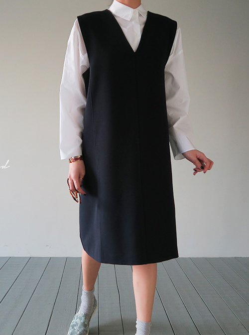 V-Neck Pinafore Dress