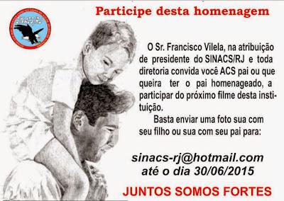 SINACS Rio convida os ACS para participarem de filme em homenagem aos pais 1