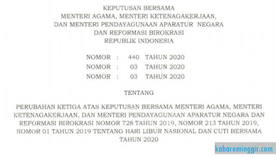 SKB Tiga Menteri Tentang Cuti Bersama dan Hari Libur Nasional Terbaru 2020