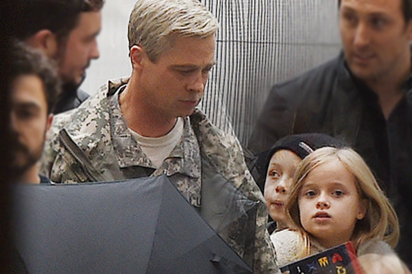 "The children of brad pitt visited the set of his new film ""war Machine"""