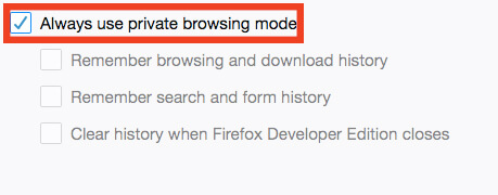 طريقة فتح النافذة الخفية في متصفح فايرفوكس بشكل دائم