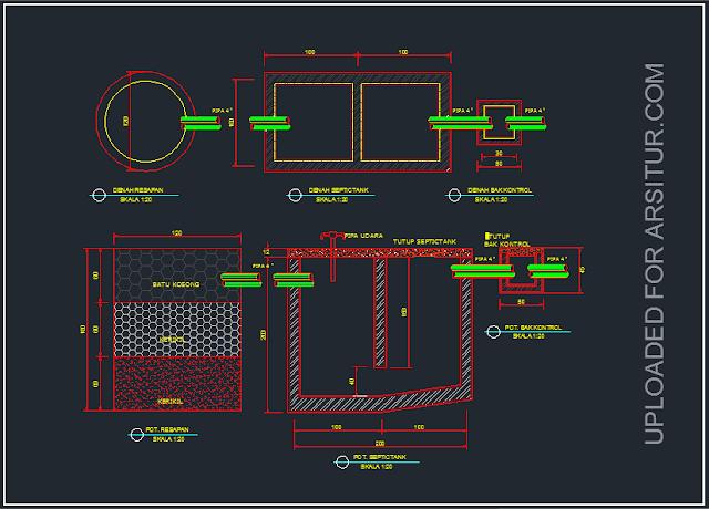 Detail Septic Tank - Contoh Gambar AutoCAD