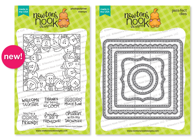 Snowman Party Stamp Set and Frames Squared Die Set by Newton's Nook Designs #newtonsnook