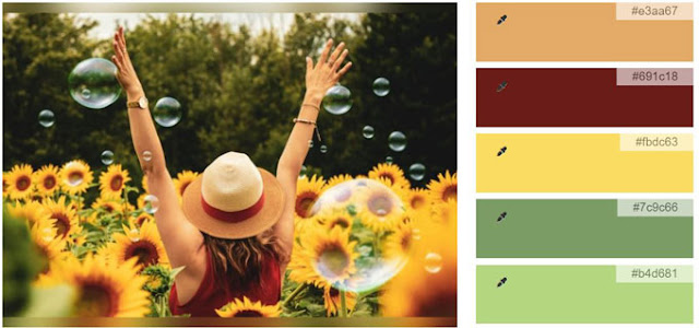 red yellow green and amber color palette from sunflower picture and icolorpalette.com