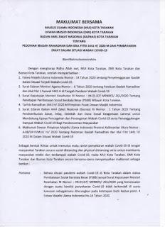 Pedoman Ibadah Ramahdan dan Idul Fitri 1441 H dan Pembayaran Zakat Dalam Situasi Wabah COVID-19 - Tarakan Info