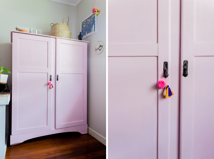 before and after pink chalk painted wardrobe