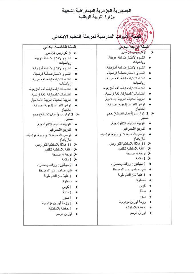 قائمة الادوات المدرسية الرسمية للسنة الرابعة ابتدائي 2018-2019