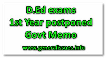 D.Ed exams 1st Year postponed Govt Memo