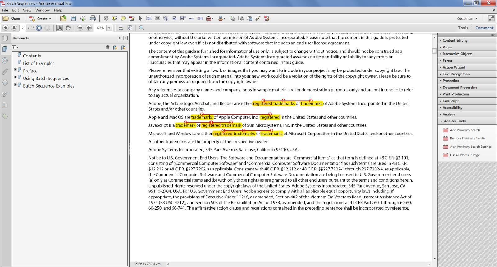 Custom-made Adobe Scripts: Acrobat/Reader - Advanced Proximity Search