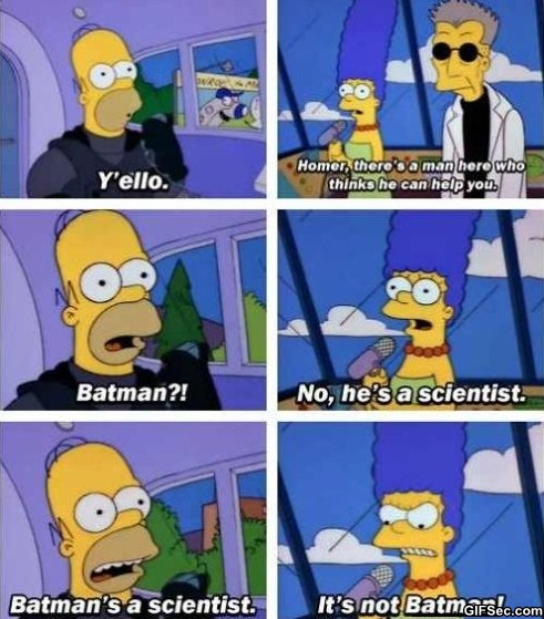 Homer wanting Batman to come save him on the Monorail