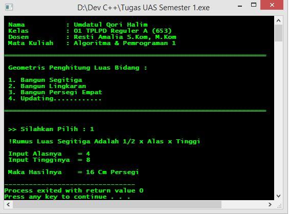 Program Membuat Menu Penghitung Luas Bangun Menggunakan Switch Di