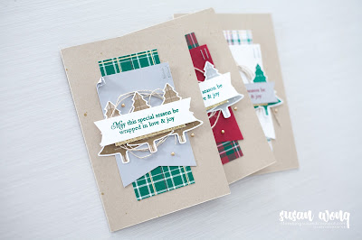 Perfectly Plaid by Stampin' Up! - Set of three easy Christmas cards - Susan Wong
