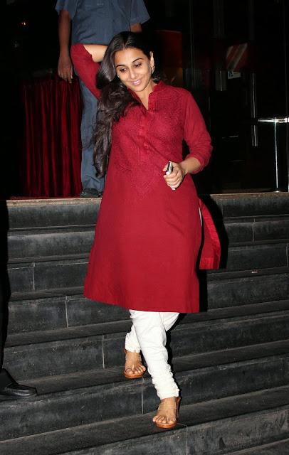 Bollywood Celebrity Vidya Balan Latest Photos Red Shirt and White Churidar Actress Trend