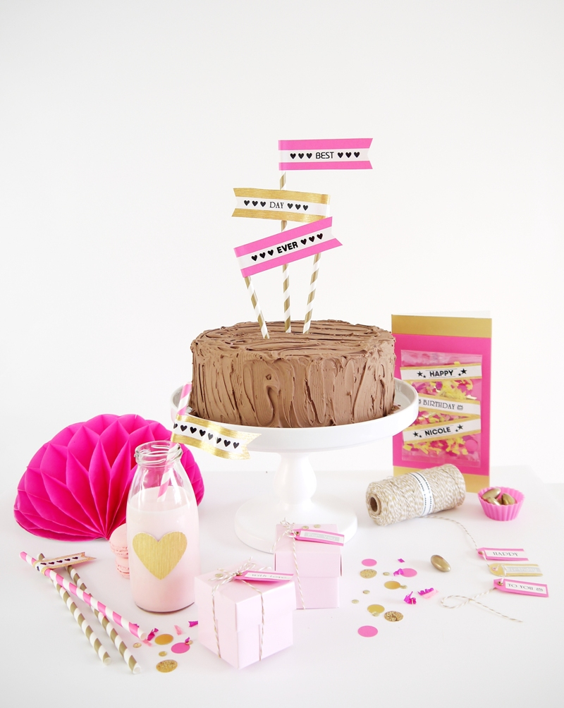 Pink & Gold DIY Birthday Party Decor - BirdsParty.com