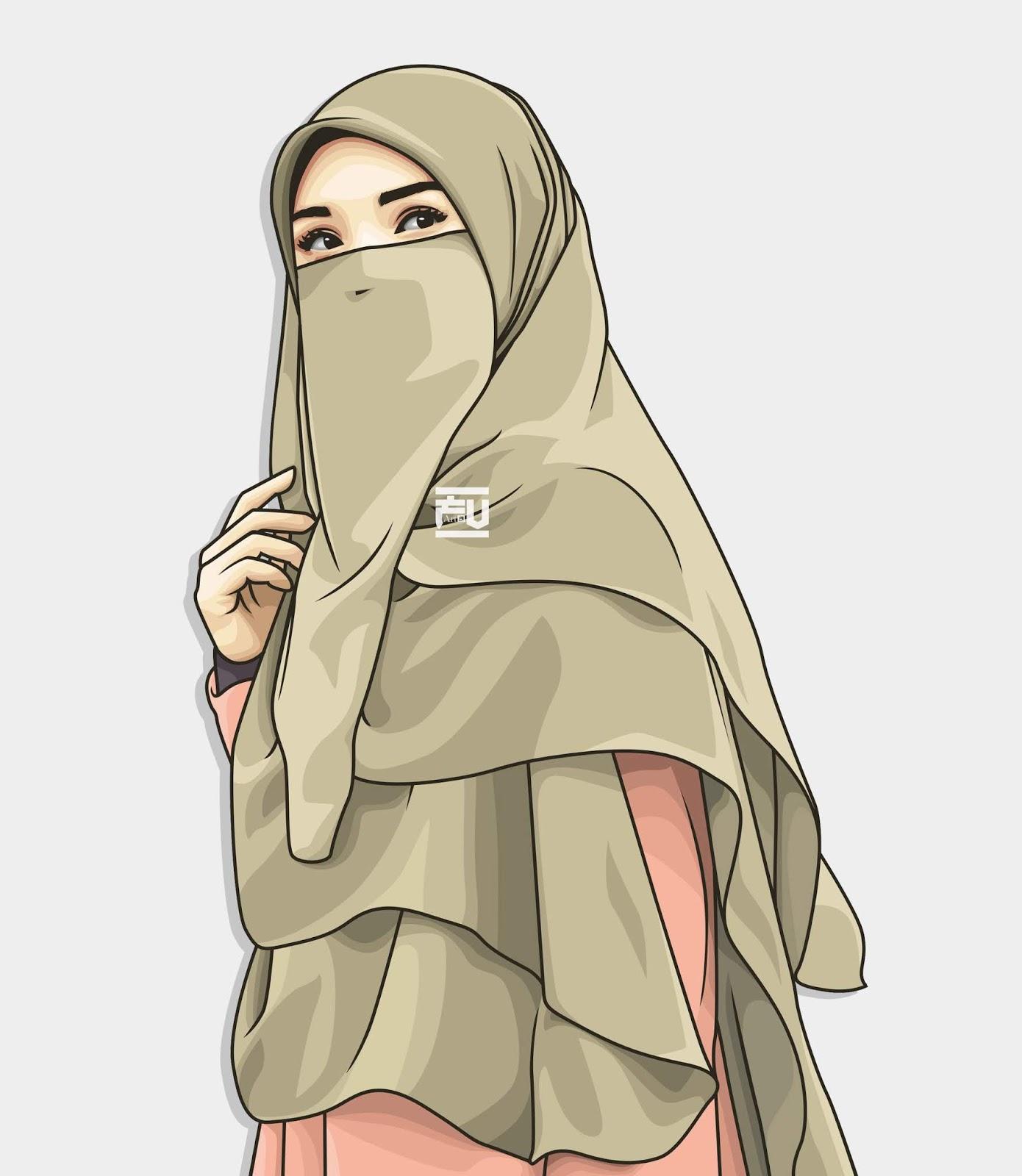 620 Gambar Kartun Wanita Muslimah Bercadar Cantik Terbaik