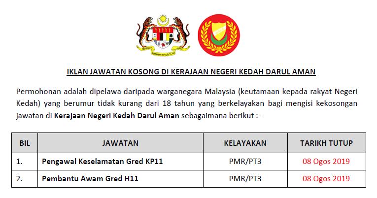 Jawatan Kosong Di Kerajaan Negeri Kedah Darul Aman Kelayakan Pmr Pt3 Jawatan Kosong Kerajaan Swasta Terkini Malaysia 2020 2021