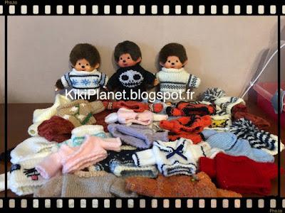 pulls et tricots pour kiki et monchhichi handmade fait main tricotage