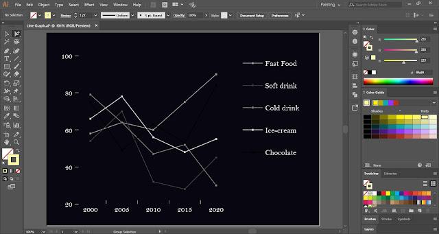 Line Graph in Adobe Illustrator