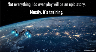 A spaceship headed toward a planet with the reminder that not every day will be our epic story, mostly we're in training.