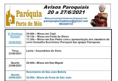 Avisos paroquiais - 20 a 27 Junho de 2021