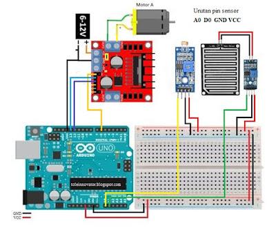 Rangkaian projek jemuran arduino
