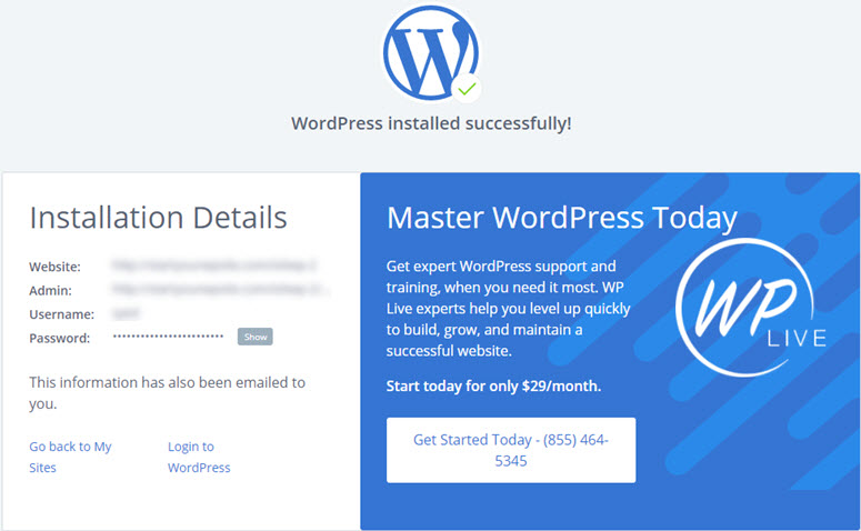 instalasi wordpress selesai