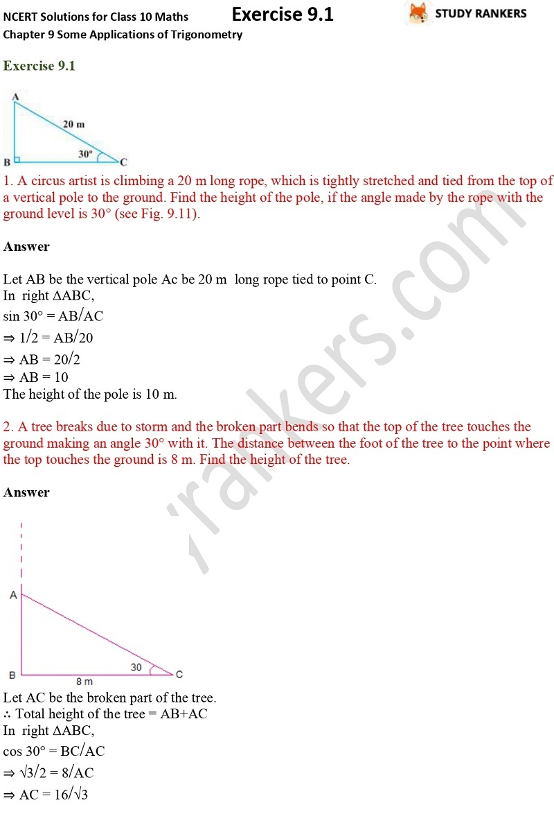 NCERT Solutions for Class 10 Maths Chapter 9 Some Applications of Trigonometry Exercise 9.1 Part 1