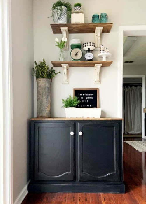 Kitchen and Dining Room Makeover - How to easily Make a Sideboard or Buffet from a kitchen cabinet