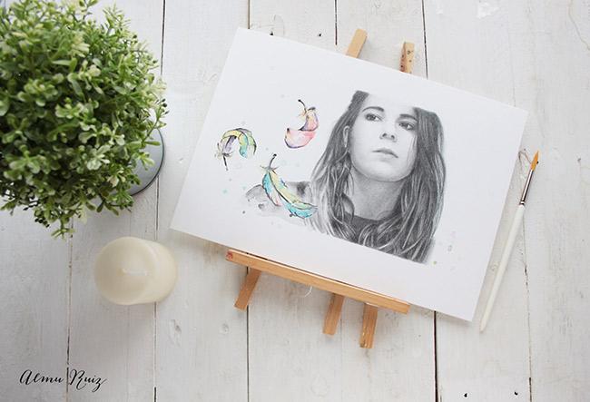Retrato a lápiz y acuarela de Deborah Oye Deb