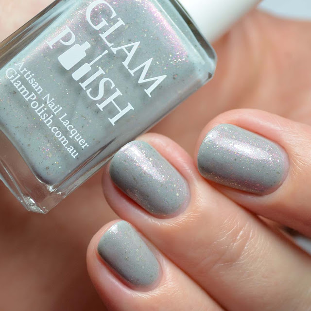 gray crelly shimmer nail polish