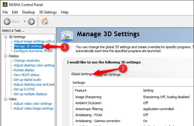 إدارة الإعدادات 3d  في لوحة تحكم NVIDIA