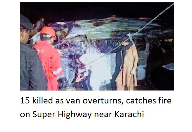 15 të vrarë ndërsa përmbyset furgoni, merr flakë në Super Highway afër Karaçi