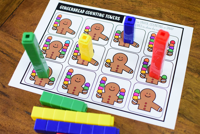 FREE GINGERBREAD COUNTING TOWERS PRINTABLE
