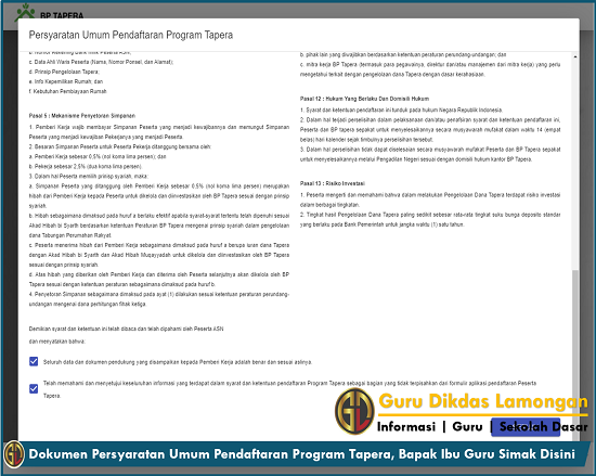 Dokumen Persyaratan Umum Pendaftaran Program Tapera, Bapak Ibu Guru Simak Disini