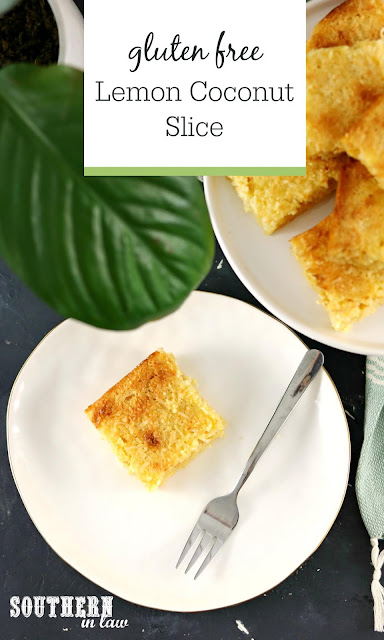 Gluten Free Lemon Coconut Slice Recipe - Quick and Easy Slice Recipes, Desserts with Pantry Staples, Gluten Free Slices