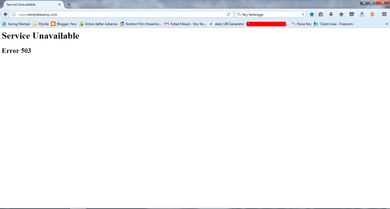 Akses Blogger Semua nya Error 503