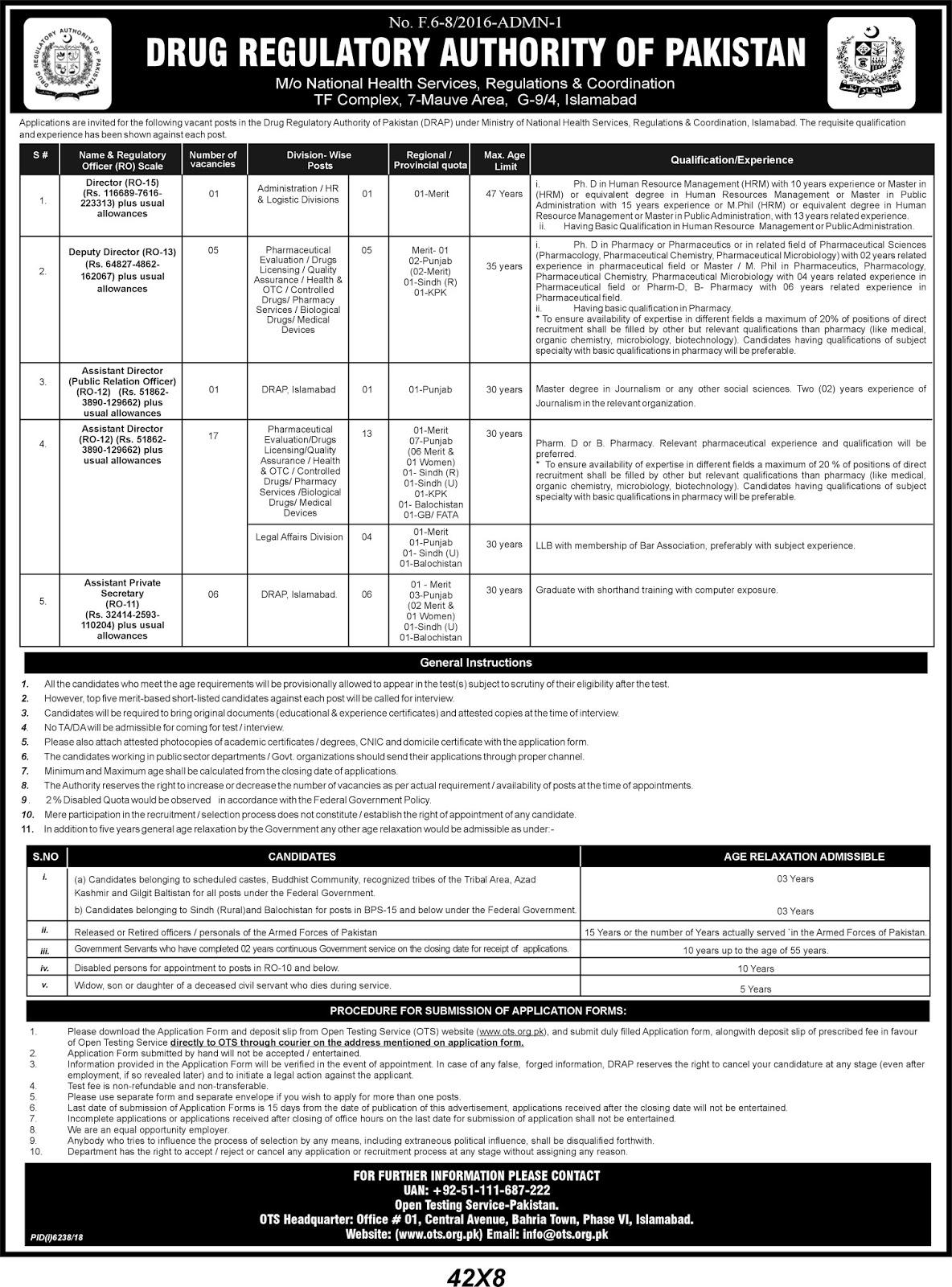 Drug Regulatory Authority of Pakistan Jobs 2019 July via OTS