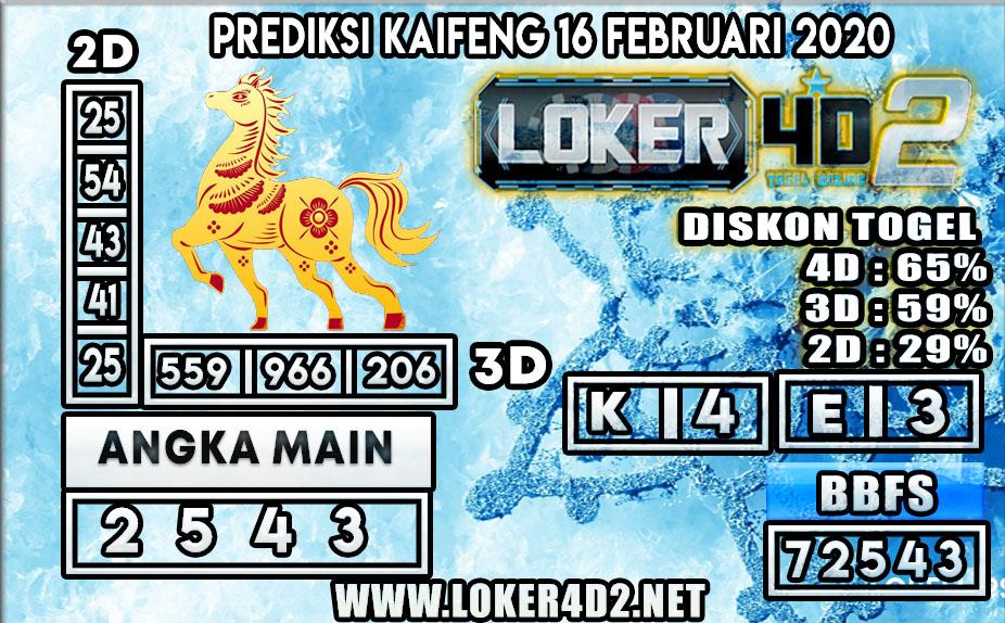 PREDIKSI TOGEL KAIFENG LOKER4D2 16 FEBRUARI 2020