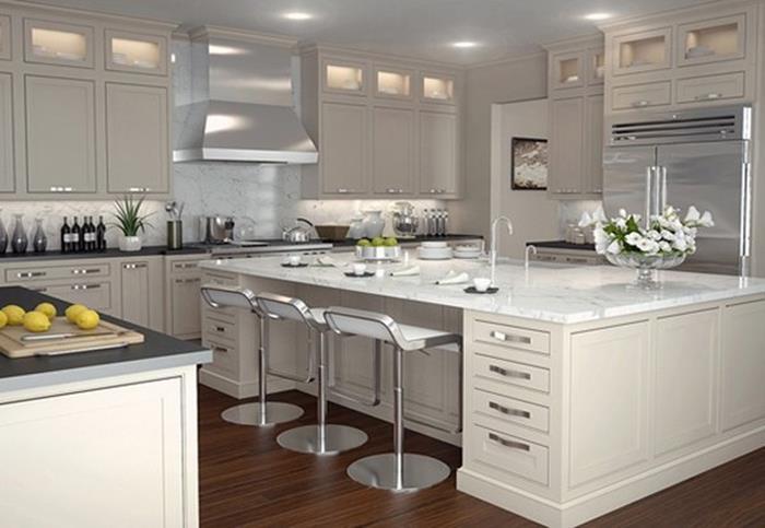 metalik gri ve beyaz mutfak kabinleri ile mutfak tasarımı