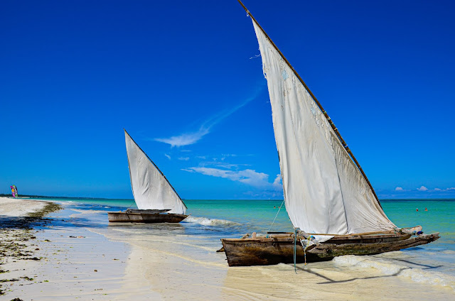 Zanzibar - łodzie zacumowane przy plaży