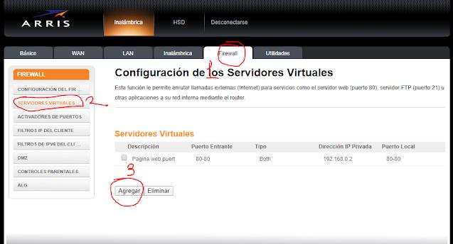 Servidor virtual Firewall modem Arris