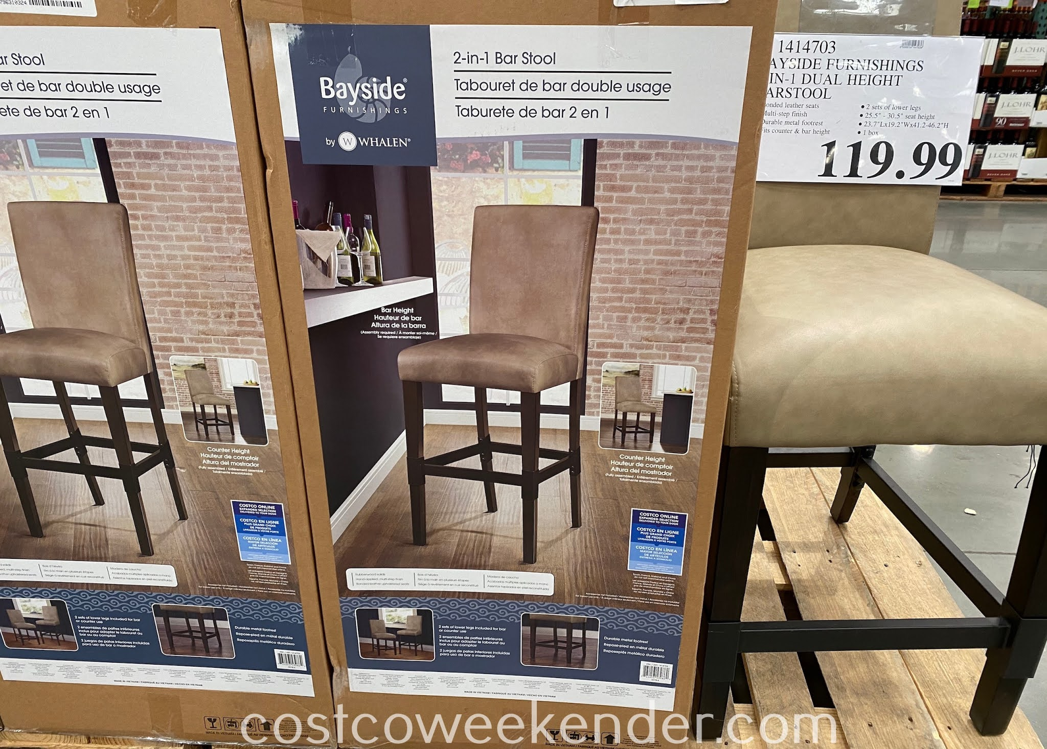 Eat a meal at your kitchen counter with the Bayside Furnishings 2-in-1 Bar Stool