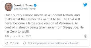 Trump no permitirá que Estados Unidos se convierta en una Venezuela