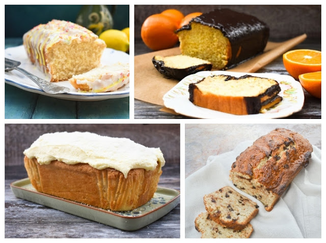 A variety of vegan loaf cakes