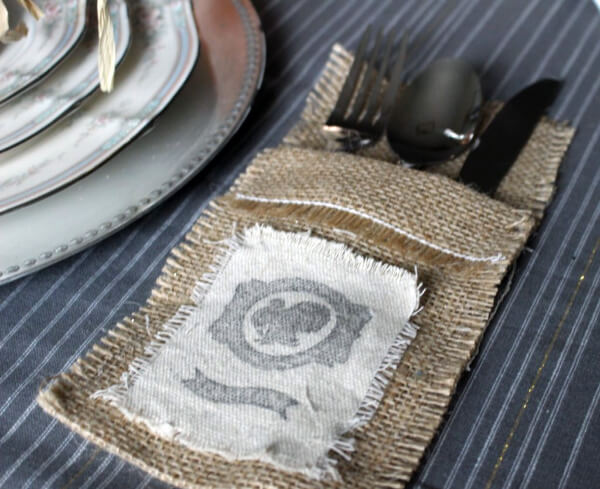 burlap holder for silverware
