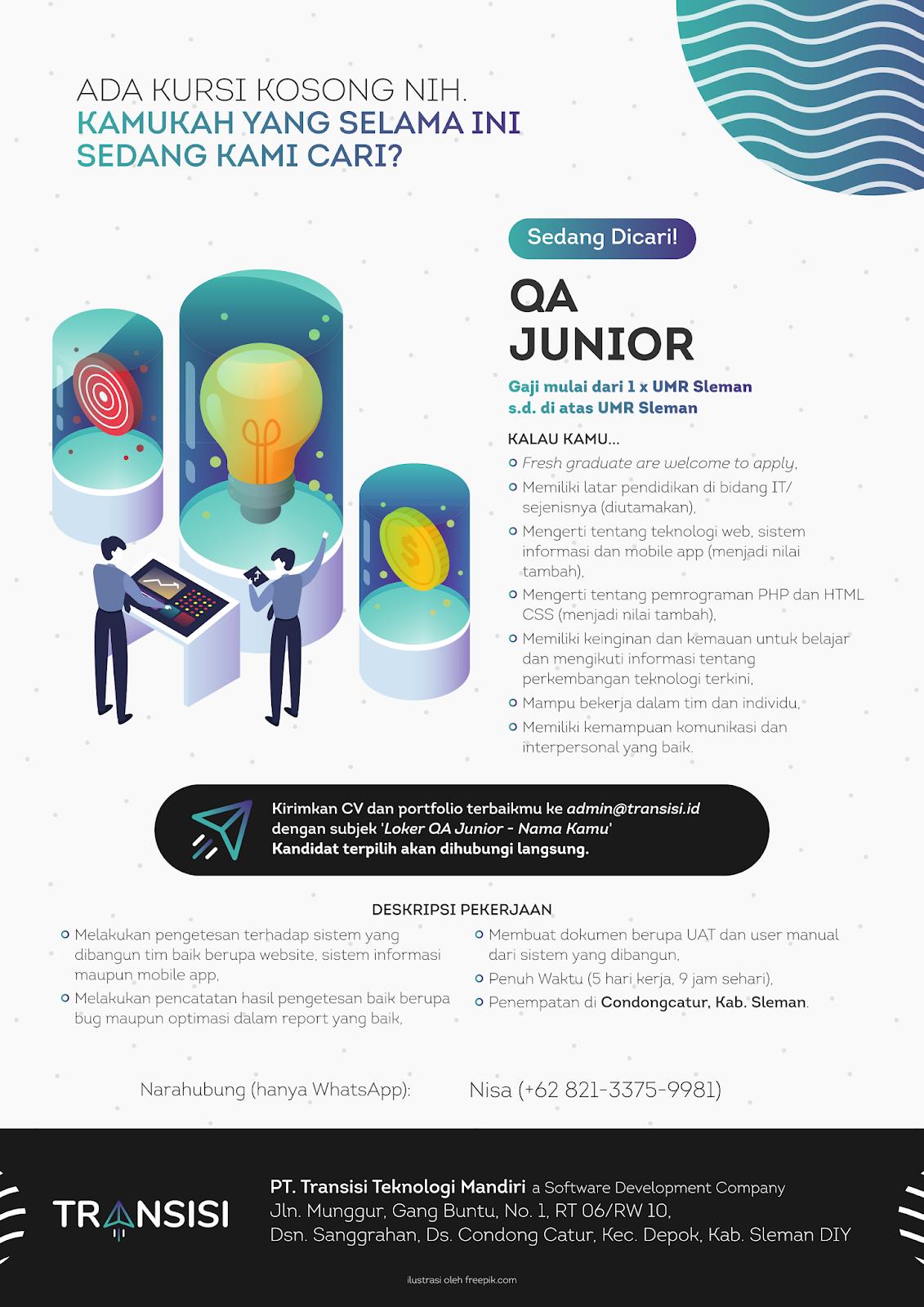 Lowongan Kerja Quality Assurance Junior