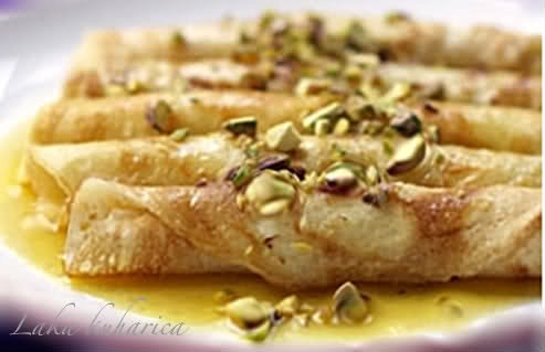 Aphrodite's love dessert by Laka kuharica: dip in honey and pistachios