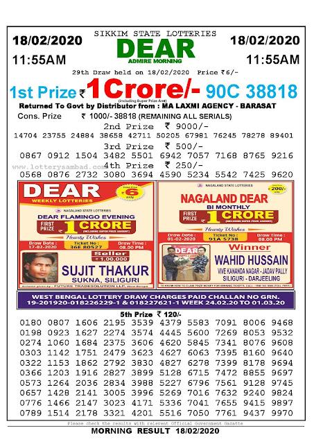 Lottery Sambad 18.02.2020 Sikkim Lottery Result 11.55 AM-lotterysambadresults.com