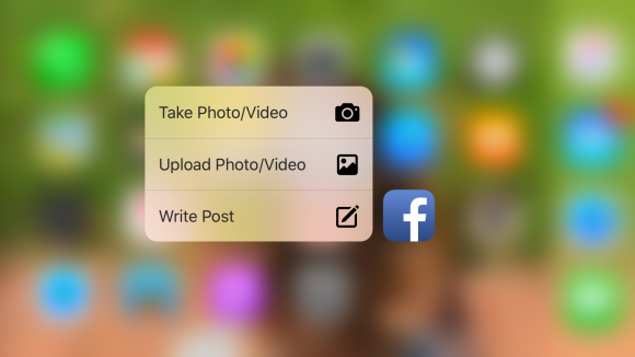 "Facebook, corresponding to the new in the latest update ""3D Touch"" function"