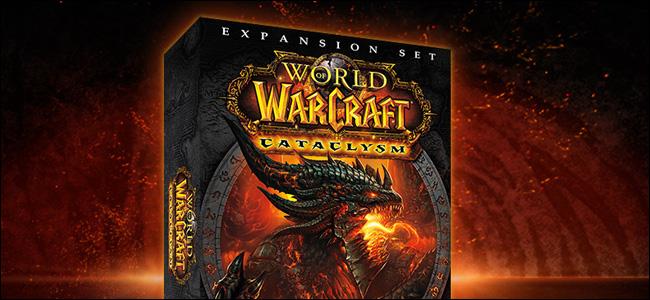 """مربع مجموعة توسيع """"World of Warcraft: Cataclysm"""" على الإنترنت."""